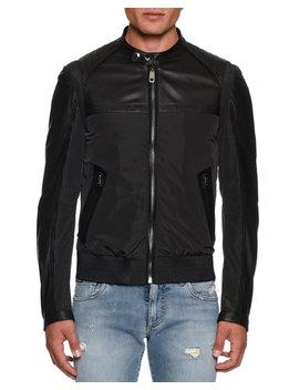 Men's Nylon/Leather Bomber Jacket by Neiman Marcus