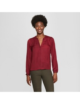 Women's Long Sleeve Satin Popover Blouse   A New Day™ by A New Day