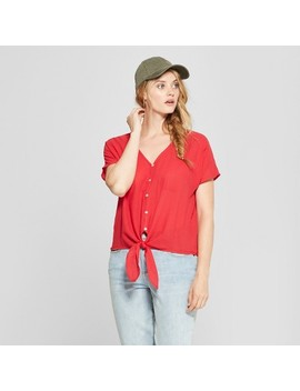 Women's Short Sleeve Tie Front   Universal Thread™ Red by Universal Thread
