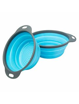 """Colander Set   2 Collapsible Colanders (Strainers) Set By Comfify   Includes 2 Folding Strainers Sizes 8""""   2 Quart And 9.5""""   3 Quart Blue And Grey by Comfify"""