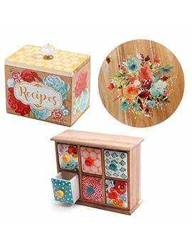 The Pioneer Woman Willow 12 Inch Lazy Susan + Flea Market 6 Drawer Spice/Tea Box + Blossom Jubilee 6.2 Inch Recipe Box Bundle | Perfect Christmas Gift For Her by Tf Llc
