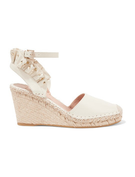 Valentino Garavani Studded Ruffled Textured Leather Espadrille Wedge Sandals by Valentino