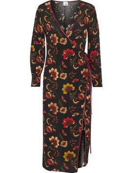 Roseanne Floral Print Crepe Midi Dress by Iris & Ink