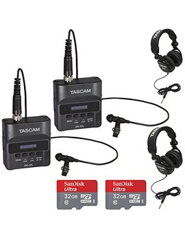 Tascam Dr 10 L Portable Digital Studio Recorder W/Lavaliere Microphone, Th 02 B Headphones And Sandisk 32 Gb Audio Bundle (2 Pack) by Tascam