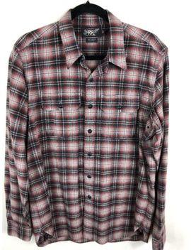 Rrl Ralph Lauren Cotton Wool Plaid Flannel L/S Casual Button Shirt   Large Euc by Rrl