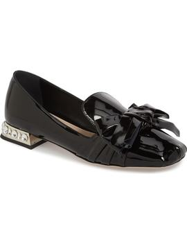 Embellished Heel Bow Loafer by Miu Miu