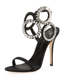 Suede High Sandal With Crystals by Giuseppe Zanotti