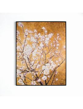 Art For The Home   Orange Oriental Blossom Hand Painted Framed Canvas by Art For The Home