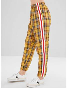 Plaid Stripes Straight Pants   Golden Brown L by Zaful