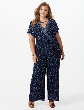 Plus Size Crinkle Jumpsuit by Dressbarn