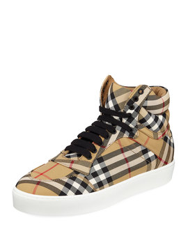 Reeth Check Canvas High Top Sneakers by Burberry