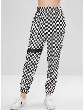 Checkered Jogger Pants   Multi L by Zaful