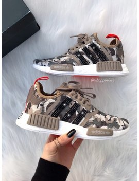 Tan Camo Swarovski Adidas Womens Girls Nmd Customized With Swarovski Crystals Bling Nike Shoes by Etsy