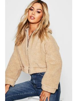 Petite Zip Through Teddy Faux Fur Bomber Jacket by Boohoo