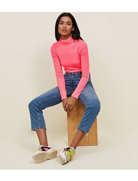 Bright Pink Neon Roll Neck Top by New Look