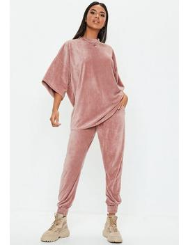 Petite Pink Velour Oversized T Shirt by Missguided