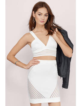 Blind Side Ivory Striped Mesh Bodycon Dress by Tobi