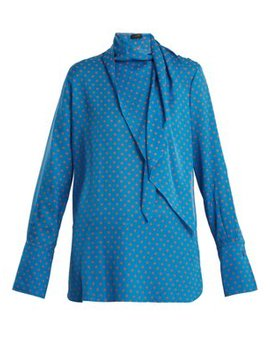 Geoff Polka Dot Print Tie Neck Silk Blouse by Joseph