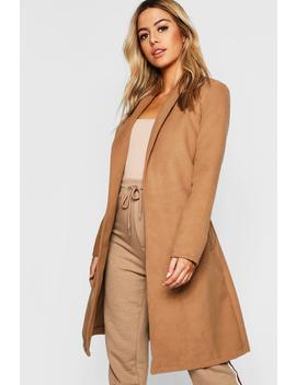 Petite Shawl Collar Belted Coat by Boohoo