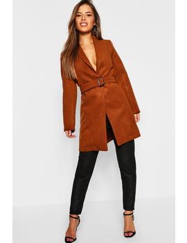 Petite Belted Longline Wool Look Coat by Boohoo