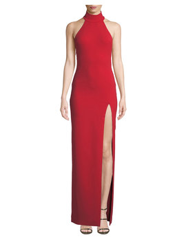 Zadid High Neck Halter Front Split Gown by Solace London