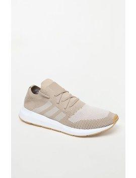 Adidas Swift Run Primeknit Gold & White Shoes by Pacsun