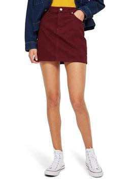 Bordeaux Denim Skirt by Topshop