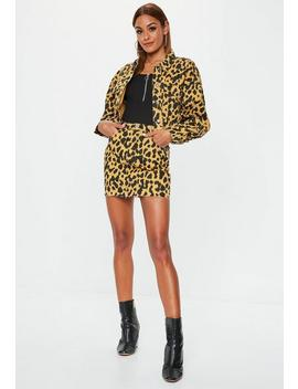 Mustard Leopard Denim Cropped Jacket by Missguided