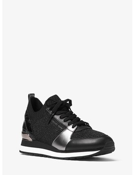 Billie Metallic Knit And Leather Sneaker by Michael Michael Kors
