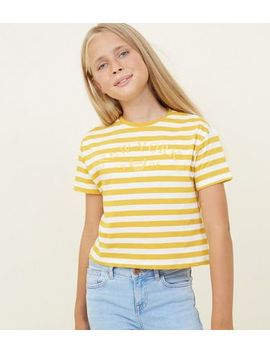 Girls Yellow Stripe New York Slogan T Shirt by New Look