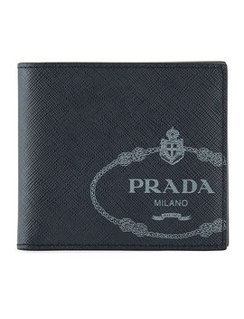 Men's Saffiano Leather Savoia Logo Bi Fold Wallet by Prada