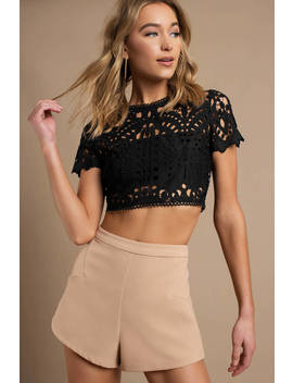 Alice Black Lace Crop Top by Tobi