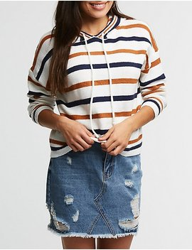 Striped Knit Hoodie by Charlotte Russe