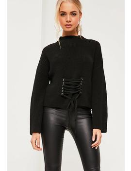 Black Extreme Sleeve Corset Funnel Neck Jumper by Missguided