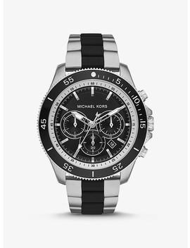Theroux Silver Tone And Silicone Watch by Michael Kors