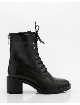 Leather Lace Up Combat Boot by Le Chateau