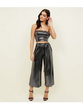 Black Sequin Tie Waist Culottes by New Look