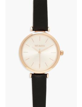 Rose Gold Pu Strap Watch by Boohoo