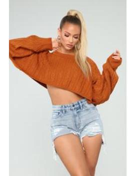 Meet Me Half Way Sweater   Cognac by Fashion Nova