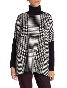 Patterned Turtleneck Poncho Sweater (Petite) by Joseph A