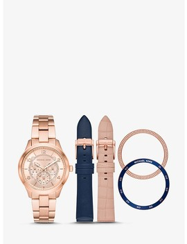 Runway Rose Gold Tone And Leather Interchangeable Watch Set by Michael Kors