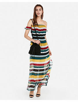 Striped Off The Shoulder Flutter Sleeve Maxi Dress by Express