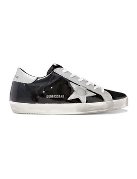 Superstar Distressed Metallic And Patent Leather Sneakers by Golden Goose Deluxe Brand