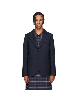 Blue Striped Wool Blazer by House Of The Very Islands