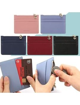 Women Men Genuine Leather Small Slim Credit Card Coin Holder Wallet Purse Case by J.Acc