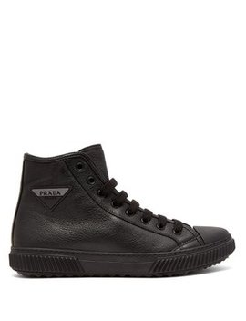 Logo Patch High Top Leather Sneakers by Prada