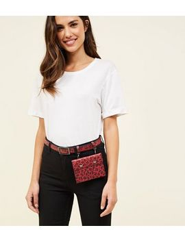 Red Leopard Print Hanging Purse Belt by New Look