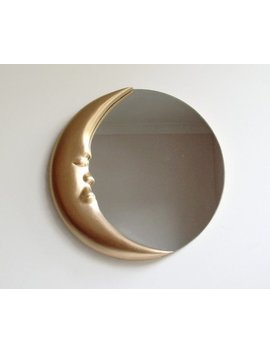 "Man In The Moon Wall Mirror, 12"" Round Mirror, Hand Carved Moon Mirror, Decorative Wall Mirror, Crescent Moon Mirror, Reclaimed Mirror by Etsy"