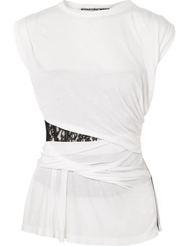Lace Insert Gathered Modal Top by Alexander Wang