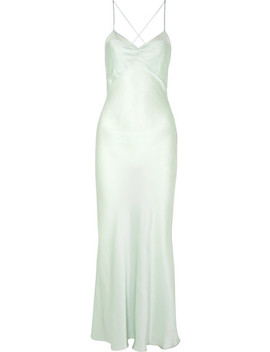 Clementine Open Back Cotton Voile Trimmed Silk Charmeuse Maxi Dress by Three Graces London